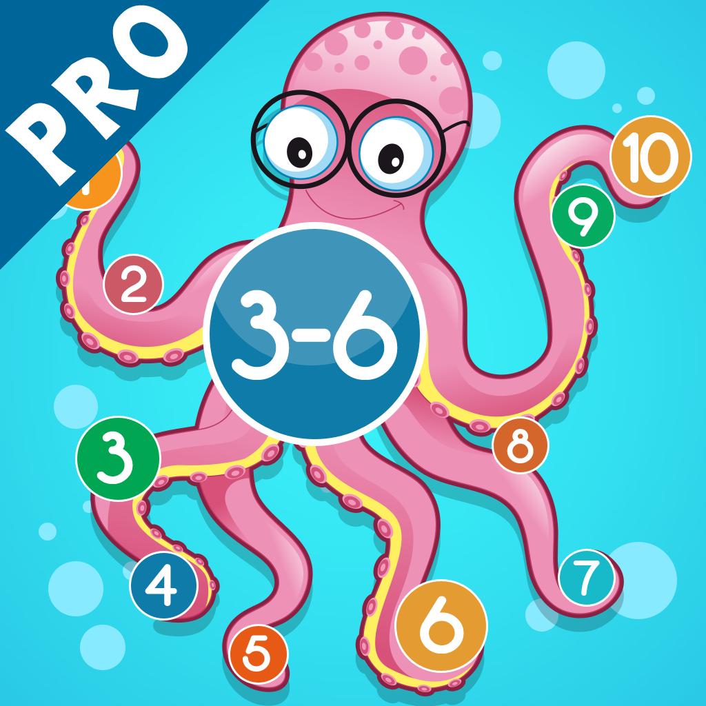3-6岁儿童的海洋动物的数学游戏:了解数字1-20